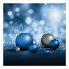 Blue Christmas Ornaments Posters