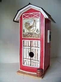 Large Barn Bird House  21 inches tall x 8 inches x 11 inches  Two Apartments  Treated plywood, quality paint, polycrylic low amber luster coating  Shipping Weight: 18 lbs   YardSellR.com does not have a postage calculator and we have to estimate postag...