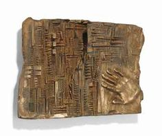 Arnoldo Pomodoro, Lettera a K. (Letter to K.), 1965. Bronze 37.3 x 56.5 x 7.5cm. From an edition of two plus two artist's proofs.