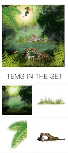 """""""JUngle cats"""" by rosiepeter ❤ liked on Polyvore featuring art"""