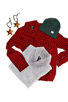 For the man that has everything! Gift your favorite guy a black and red checkered shirt. Add a sweatshirt with a shawl collar for a stylish holiday.