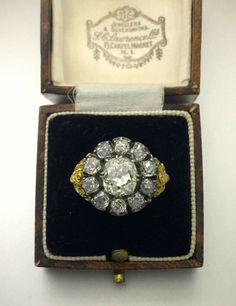 A Stunning Georgian 5ct Old Mine Cut Diamond Cluster Ring Dated 1828