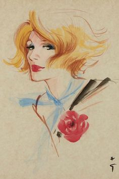 Illustration by René Gruau (1909- 2004), Femme, Gouache.