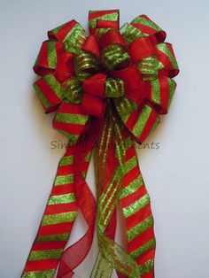 Red Green Christmas Candy Canes Tree Top Bow by SimplyAdornmentsss
