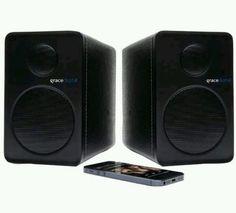 Set of 2 Grace Digital Bluetooth Wireless Black Bookshelf Speakers GDI BTSP201 | eBay
