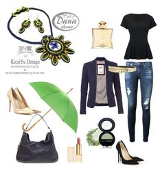 """""""Navy blue gold green outfit trend handmade"""" by kicsiyudesign on Polyvore featuring Jimmy Choo, AG Adriano Goldschmied, M&Co, Tommy Hilfiger, Alloy Apparel, Hermès, Tory Burch, Gianvito Rossi, Totes and Yves Saint Laurent"""