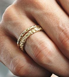 Coral & Textured Stacking Ring Set by Colby June