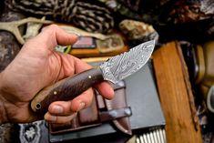 Handmade Chef Knife, Tactical Operator, Bull Horns, Gun Holster, Satin Color, Damascus Steel, Cowhide Leather, Edc, Knives