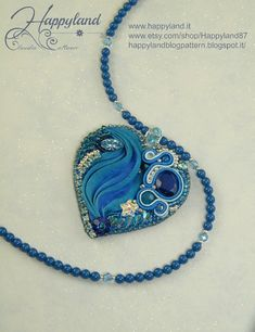Romantic embroidery heart with Shibori ribbon OOAK by Happyland87