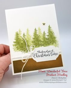 Stampin' Up! Most Wonderful Time Product Medley shared by Dawn Olchefske Christmas Card Maker, Stampin Up Christmas, Christmas Cards To Make, Christmas Themes, Christmas Crafts, Christmas Medley, Christmas Rose, Simple Christmas, Christmas 2019
