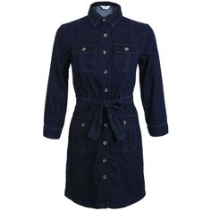 Miss Selfridge 4 Pocket Belted Denim Shirt Dress ($35) ❤ liked on Polyvore featuring dresses, mid wash denim, belted shirt dress, blue shirt dress, long-sleeve shirt dresses, long sleeve denim dress and long sleeve dress