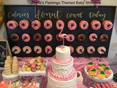 Flamingo Themed Baby Shower, donut wall, cake, baby shower