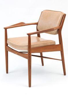 Arne Vodder; Teak and Leather Arm Chair for Sibast, 1950s.