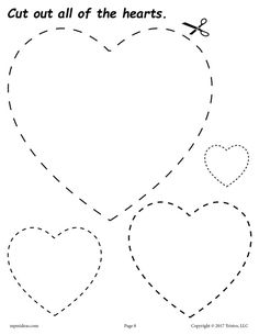 These shapes cutting worksheets for preschool and kindergarten are fun and easy to print and use! Even though these shapes worksheets were primarily created for cutting practice, they can also be used as shapes coloring pages and tracing worksheets. Valentine's Day Crafts For Kids, Valentine Crafts For Kids, Valentine Day Crafts, Valentine Hearts, Shapes Worksheets, Preschool Worksheets, Preschool Crafts, Shape Coloring Pages, Printable Shapes