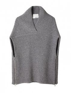 Phillip Lim Shawl Sweater Vest, like the details. Poncho Crochet, Loom Knitting, Knitting Machine, Phillip Lim, Crochet Clothes, Pulls, Knitwear, Knitting Patterns, Sweaters
