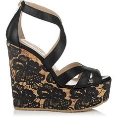 Jimmy Choo Parrow Black Nappa with Lace Wedge Sandals