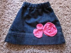 Making a baby skirt out of blue jean legs