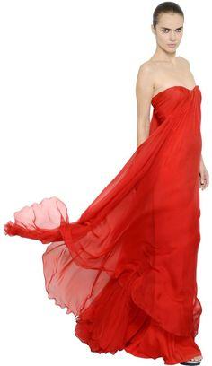 Alexander McQueen Petal Chiffon Draped Bustier Gown (£1,475 ...
