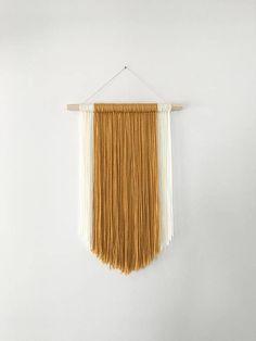 Items similar to Mustard Yellow + Ivory White Modern Bohemian Yarn Wall Hanging on Etsy Rope Crafts, Diy Home Crafts, Diy Home Decor, Yarn Wall Art, Macrame Wall Hanging Diy, Diy Upcycling, Macrame Design, Macrame Projects, Boho Diy