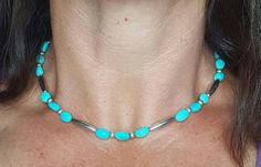 Kingman Arizona Turquoise Choker Necklace, Sterling Silver Navajo Melon Bench Beads, Southwest Jewelry, Native American Navajo Inspired