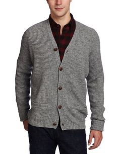 Ben Sherman Men's Plectrum Rib Cardigan Sweater, Slate Grey, Large