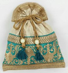 Beige and green brocade potli! Indian ethnic bag!!