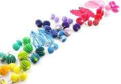3d printed earring collection - colours By Mutating Creatures