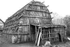 Exterior of Reconstructed Longhouse    Ste-Marie Among the Hurons, near Midland, Ontario. Built c. 1640, reconstructed 1960s