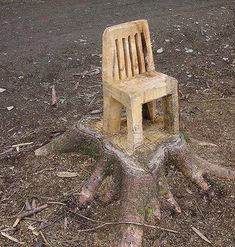 Wood carving of a chair