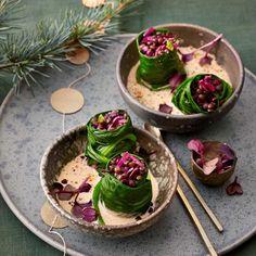 Rezept: Mini-Spinat-Wraps mit Linsen-Rotkohl-Füllung