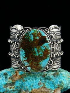 Sterling Silver Natural Sierra Nevada Turquoise Cuff Bracelet by Navajo Artist Gene Nathan