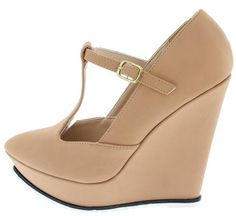 SYBIL02 NUDE T-STRAP WHITE RIPPLE SOLE WOMEN'S WEDGES ONLY $10.88. All women's shoes, heels, wedges, sandals, and flats are $10.88 a pair.