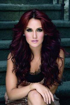 teinture acajou, couleur rouge foncé sur cheveux longs