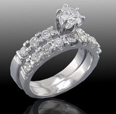1.10 Cttw F SI Round Diamond Solitaire with Accents Engagement Ring Wedding Band…