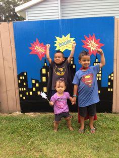 Superhero party backdrop / background. Superhero clothing