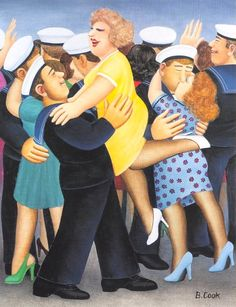 Beryl Cook Sailors and Sweethearts. Married to a sailor, I love this. Beryl Cook, Local Painters, Beautiful Fantasy Art, English Artists, Naive Art, Art For Art Sake, Types Of Art, Tea Party, Cook Art