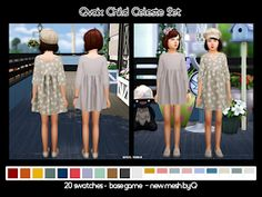 CC Info _______________________ 2 files included in winrar; u will need to unzip it swatches include solids/pats & 1 white swatch fo. Sims 4 Children, 4 Kids, Kids Girls, Sims 4 Toddler Clothes, Toddler Outfits, Kids Outfits, Sims 4 Collections, Sims 4 Characters, Sims 4 Update