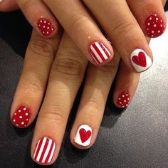 Easy Valentine's Day Nail Art Ideas - - Valentine's Day is one of the special days in every lover's life. So why not dress up your nails with cute nail art too? Here are some easy-to-do nail art ideas for Valentine's Day. Fancy Nails, Love Nails, How To Do Nails, Pretty Nails, My Nails, Nails For Kids, Girls Nails, Valentine's Day Nail Designs, Valentine Nail Art