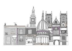 London Buildings A3 Illustration Print by helenacarrington on Etsy