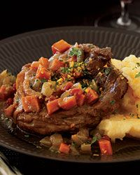 """Osso Buco with Citrus Gremolata: Ethan Stowell sticks to Italian tradition when making osso buco, topping braised veal shanks with a citrusy gremolata (orange and lemon zest mixed with garlic and parsley). He advises spooning out and eating all of the marrow from the bones for what he calls """"a mouthful of fatty goodness."""""""