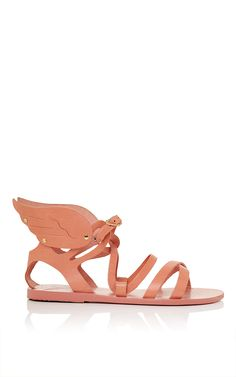 These Ancient Greek Sandals are rendered in pink vachetta leather with wing shaped ankle straps. This sandal is monogrammable. Now Available on Moda Operandi