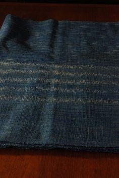 Handspun handwoven indigo blue Ikat fabric by yard