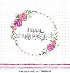 Hand drawn watercolor flower wreath. Floral frame card template. - stock photo