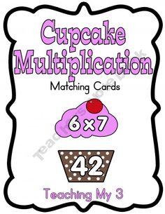 {Freebie} TeachingMy3 Shop - | Teachers Notebook - Multiplication Cupcake Match Up