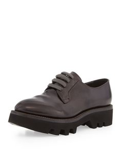 Lace-Up Leather Creeper Shoe, Dark Burgundy by Brunello Cucinelli at Neiman Marcus.