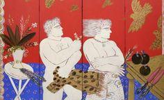 """ paintings © Alecos Fassianos (Greek, b. Contemporary Decorative Art, Greek Flowers, Brindille, Greek Art, Naive Art, Linocut Prints, Figure Painting, Flower Art, Folk Art"