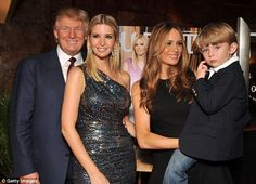 Melania Trump said she is not yet ready to 'get political', and wants to spend time with her son Barron, (right) 9. Donald Trump also praised his daughter Ivanka, 33 (second from left), in his recent interview.