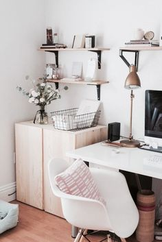 White work space with mid century chair