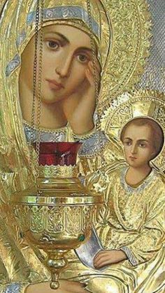 Κανδήλα (ΚΤ) Church Icon, Prayer For Family, Holy Mary, Madonna And Child, Blessed Virgin Mary, Religious Icons, Orthodox Icons, Blessed Mother, Christian Art