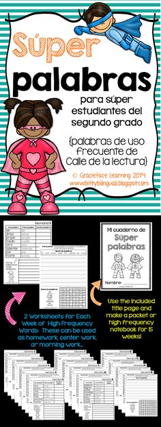 Spanish high frequency words activities for second grade using Pearson's Calle de la lectura word list